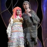 Glinka's Ruslan and Lyudmila. Galina Koroleva as Lyudmila, Аnton Ivanov as Bayan. Photo by Alexander Sternin