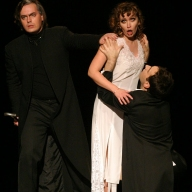 Verdi's La Traviata. Vasily Ladyuk as Giorgio Germont, Galina Koroleva as Violetta, Dmitry Pianov as Alfredo. Photo by Alexander Sternin