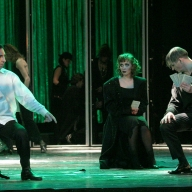 Verdi's La Traviata. Dmitry Pianov as Alfredo, Galina Koroleva as Violetta, Sergey Tarasov as Baron. Photo by Alexander Sternin