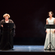 Tchaikovsky's Mazepa (in concert). Margarita Nekrasova as Lyubov, Elizaveta Soina as Maria. January 14, 2015. Photo by Daniil Kochetkov