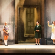 Britten's The Turn of the Screw. Tom Deazley as Miles, Victoria Shevtsova as Flora, Susanna Hurrell as the Governess, Irina Romishevskaya as Mrs. Grose. Photo by Daniil Kochetkov