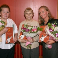 "Winners of the prize ""For Devoted Service to Opera Art"" awarded by the Evgeny Kolobov Foundation (2009): Olga Belaya, an orchestra member, Yulia Makarova, Head of HR and Irina Romishevskaya, a soloist"