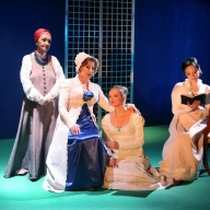 Emma Sarkissyan as the Nurse, Elena Svechnikova as Larina, Irina Romishevskaya as Olga, Ekaterina Kichigina as Tatyana. Photo by Alexander Sternin
