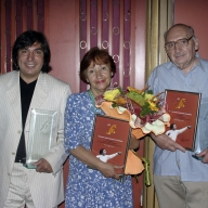 Winners of the prize «For Devoted Service to Opera Art» awarded by the Evgeny Kolobov Foundation (2005): Marat Gareyev, a soloist, Emma Sarkissyan, a soloist and Yuri Mer, an orchestra member