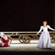 Gounod's Romeo et Juliette. Alexandra Saulskaya-Shulyatieva as Gertrude, Irina Kostina as Juliette. Press night on November 28, 2014. Photo by Daniil Kochetkov